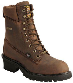 "Justin Mahogany Gore-Tex Waterproof 8"" Logger Boots - Steel Toe, Mahogany, hi-res"