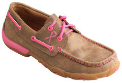 Twisted X Women's Tough Enough to Wear Pink Lace-Up Driving Mocs, , hi-res
