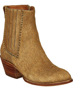 Lucchese Tan Hair-On Calf Adele Cowgirl Booties - Pointed Toe , , hi-res