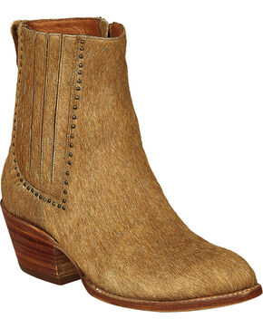 Lucchese Tan Hair-On Calf Adele Cowgirl Booties - Pointed Toe , Natural, hi-res
