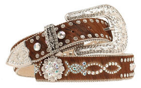 Nocona Hair-on-Hide Embellished Belt, Brown, hi-res