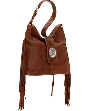 American West Seminole Collection Soft Shoulder Hobo Bag, Tobacco, hi-res