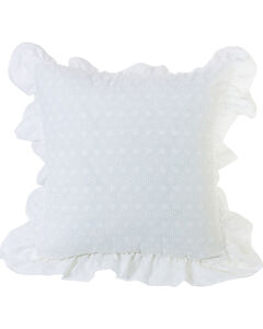 HiEnd Accents White Ruffled Flange Eyelet Pillow, , hi-res
