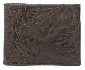 American West Hand Tooled Bi-Fold Wallet, Mahogany, hi-res