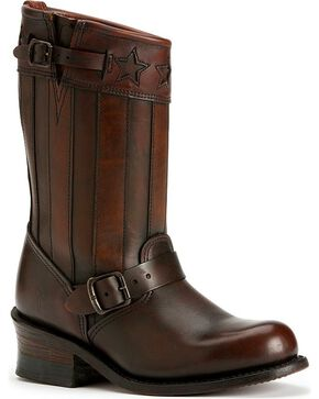 Frye Women's Engineer Americana Short Boots - Round Toe, Dark Brown, hi-res