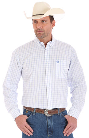 Wrangler George Strait Men's Blue and White Plaid Shirt, White, hi-res