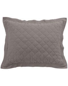 HiEnd Accents Diamond Pattern Quilted Grey Linen Standard Sham, , hi-res
