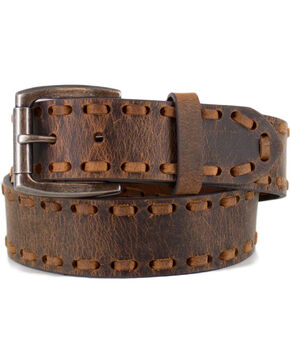 Cody James Men's Brown Whip-Stitch Western Belt , Brown, hi-res