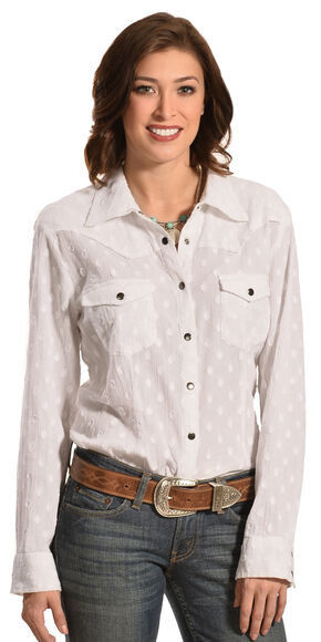 New Direction Sport Women's White Swiss Dot Long Sleeve Western Shirt , White, hi-res