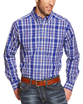 Ariat Pro Series Rochester Plaid Classic Fit Western Shirt , Blue, hi-res