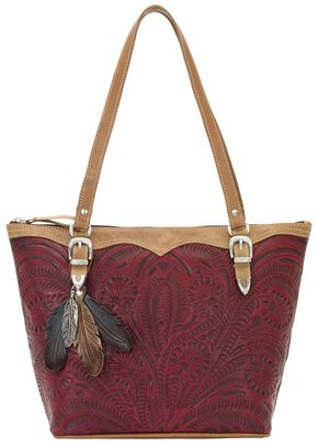 American West Birds of a Feather Red Zip Top Bucket Tote, Red, hi-res