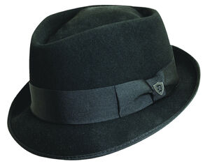 Dorfman Pacific Diamond Crown Black Wool Felt Fedora Hat, Black, hi-res