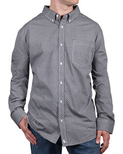 Cody James® Men's Printed Button Down Long Sleeve Shirt, White, hi-res