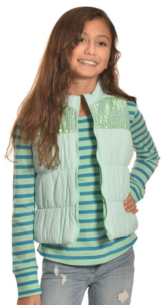 Derek Heart Girls' Aqua Puffy Vest Long Sleeve Tee Combo , , hi-res