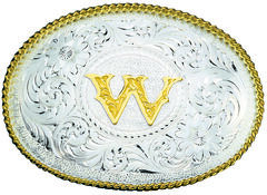 Montana Silversmiths Engraved Initial W Western Belt Buckle, , hi-res