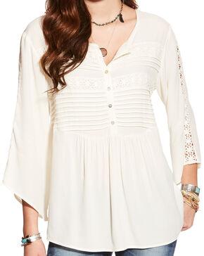 Arait Women's Whisper White Belle Crepe Top , White, hi-res