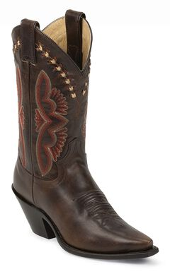 Justin Leather Laced Torino Cowgirl Boots - Snip Toe, , hi-res
