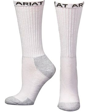 Ariat Men's Mid Calf Socks - 3 Pack, White, hi-res