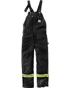 Carhartt Men's High-Visibility Striped Duck Bib Lined Overalls - Big & Tall , , hi-res