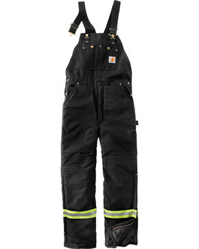 Carhartt Men's High-Visibility Striped Duck Bib Lined Overalls - Big & Tall , Black, hi-res