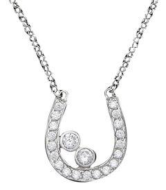 Montana Silversmiths Cubic Zirconia Rhinestone Horseshoe Necklace, , hi-res