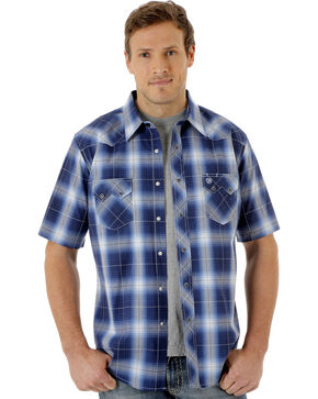 Wrangler Men's Navy Short Sleeve Western Jean Shirt, Navy, hi-res