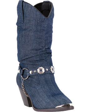 Dingo Women's Denim Olivia Cowgirl Boots - Round Toe , Blue, hi-res