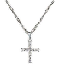 Montana Silversmiths Rhinestone Cross Pendant Necklace, , hi-res