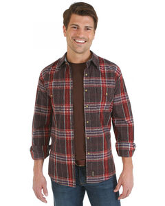 Wrangler Retro Brown, Red and Blue Plaid Overprint Long Sleeve Shirt, , hi-res