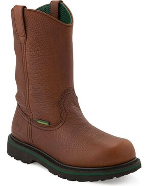 John Deere Waterproof Wellington Boots, Dark Brown, hi-res