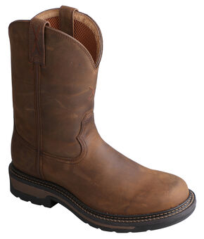 "Twisted Men's 10"" Distressed Brown Lite Cowboy Work Boots - Steel Toe, Distressed, hi-res"