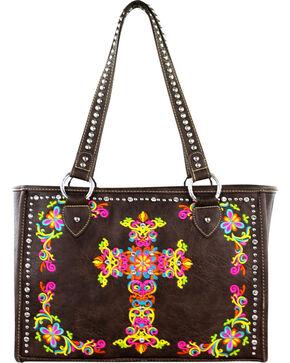 Montana West Coffee Spiritual Collection Embroidered Cross Handbag, Brown, hi-res