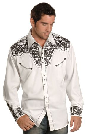 Scully Pewter-tone Embroidery Retro Western Shirt, White, hi-res