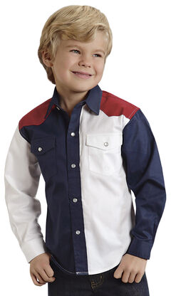 Roper Americana Collection Boys' Solid Block Western Shirt, , hi-res