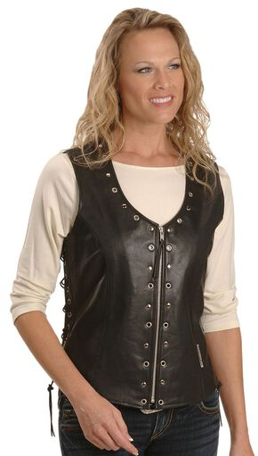 Milwaukee Motorcycle Grommet & Stud Leather Vest - XL, Black, hi-res