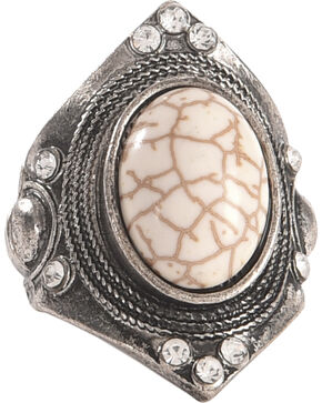 Shyanne Women's Large Gemstone Stretch Statement Ring, Silver, hi-res