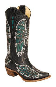 Corral Turquoise Wing Inlay & Cross Embroidery Cowgirl Boots - Snip Toe, , hi-res