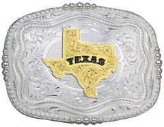 Montana Silversmiths Rounded Square Texas State Western Belt Buckle, , hi-res