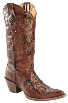 Corral Fango Goat Sequin Inlay Cowgirl Boots - Pointed Toe, , hi-res