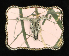 Nocona Rectangle Pink Mossy Oak Camo Longhorn Skull Belt Buckle, Pink, hi-res