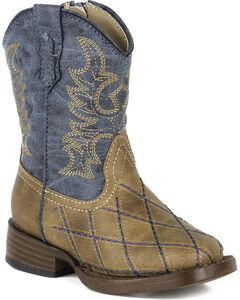 Roper Toddler Boys' Tan Cross Cut Western Boots - Square Toe  , , hi-res