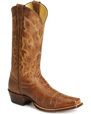 Justin Distressed Cowboy Boots - Square Toe, Tan, hi-res