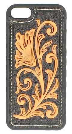 Black & Tan Floral Embossed iPhone 5 Case, , hi-res