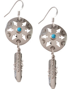 M & S Turquoise Women's Native Amercian Handmade Arrowhead with Feather Sterling Earrings, , hi-res