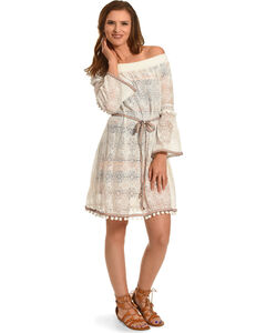 Young Essence Women's Long Sleeve Pompom Lace Dress, , hi-res
