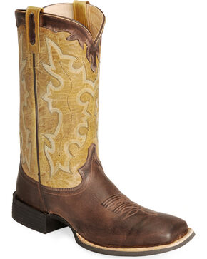 Old West Cowboy Boots - Wide Sq Toe, Brown, hi-res