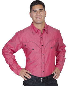 Scully Whip Stitched Denim Retro Western Shirt, Red, hi-res