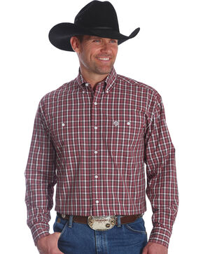 Wrangler Men's Burgundy George Strait Button Down Plaid Shirt - Big and Tall , Burgundy, hi-res