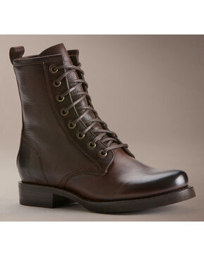 Frye Women's Veronica Combat Boots - Round Toe, Dark Brown, hi-res