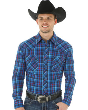 Wrangler 20X Advanced Comfort Men's Blue & Magenta Plaid Shirt, Blue, hi-res